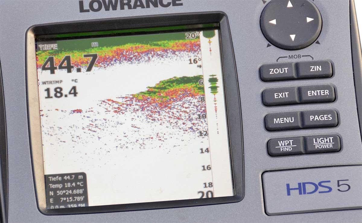 Hier ist die Empfindlichkeit zu hoch eingestellt, der Futterfischschwarm produziert ein zu starkes Echo, die ersten zwei Meter unter der Oberfläche bestehen nur aus Störechos.