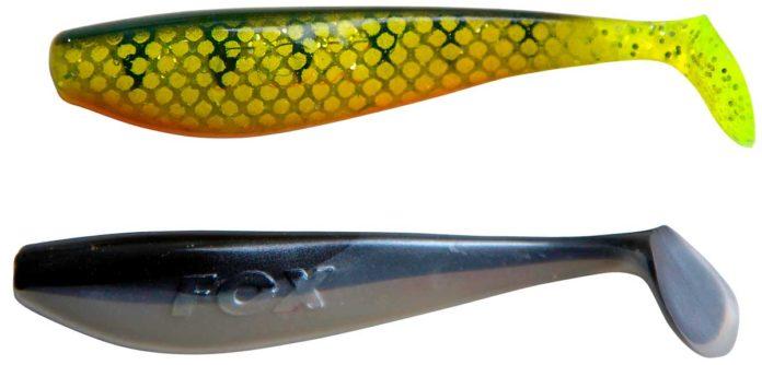 Zwei Zander Pro Shads in den Farben Natural Perch (o.) und Black n White - mittlerweile ist die Gummifisch-Serie in vier Längen erhältlich.