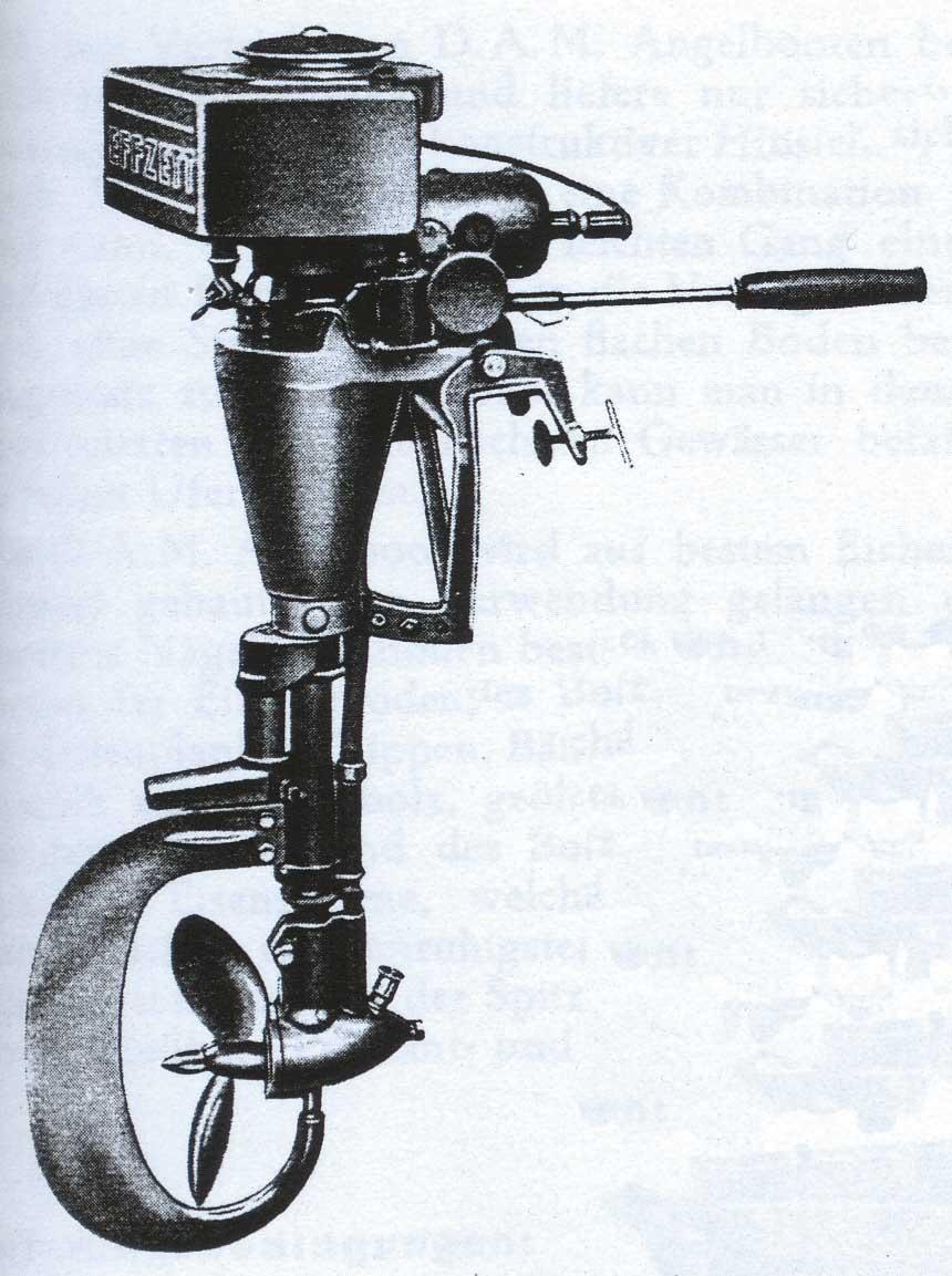 Deutschlands erste Außenbordmotoren mit dem Namen Effzett wurden von der D.A.M. in Berlin produziert.