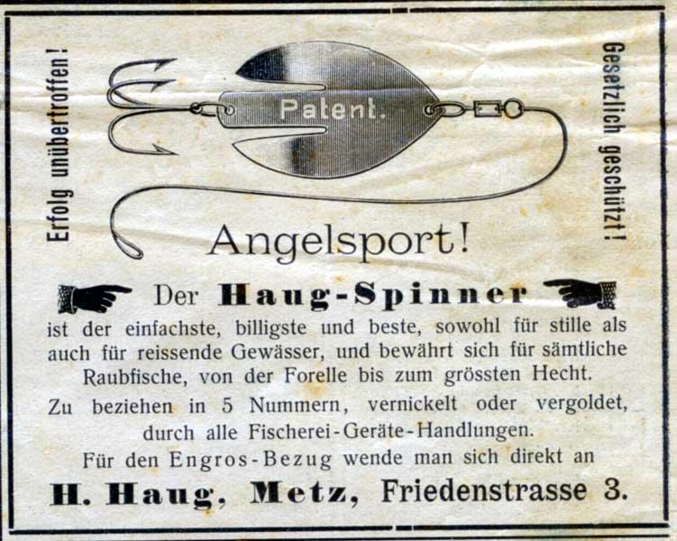 Der Haug- Spinner: erfunden von einem Deutschen in einer französischen Stadt. Anzeige von 1902.