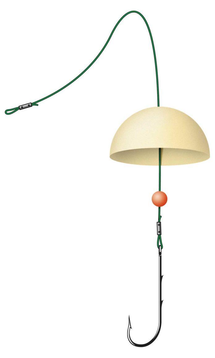 Ein halber Tischtennisball verhindert, dass der Haken beim Einholen Kraut einsammelt oder hängen bleibt. Zeichnung: U. Koch
